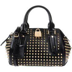 Burberry London Handbag ($1,160) ❤ liked on Polyvore featuring bags, handbags, black, zipper purse, handbags purses, satchel purse, studded purse and hand bags
