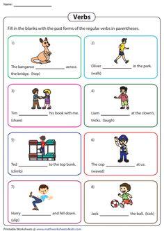 Completing Sentences with Regular Verbs Verb Worksheets, Irregular Verbs, Distinguish Between, Whats New, Sentences, Math, Frases, Math Resources, Mathematics