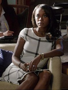 Michaela's white grid checked dress on How to Get Away with Murder.  Outfit Details: http://wornontv.net/38740/ #HTGAWM