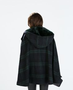 ZARA - WOMAN - HOODED CHECKED WOOL CAPE