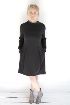 OBLIQUE incredibly comfortable black dress with a unique collar that tapers to a V in the back at ATELIER957