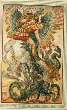 A Wonder Book For Girls & Boysdesigns By Walter Crane. 1893, c1892. Bellerophon Slays the Chimera