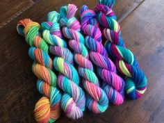 Mini Skeins 25 yds - set of 5 bright variegated by thesexyknitter on Etsy https://www.etsy.com/listing/471636788/mini-skeins-25-yds-set-of-5-bright