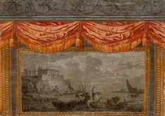 """""""They all have an enchanting story,"""" she says of the decorative art that debuted in sixteenth-century England and later flourished at the end of the eighteenth century, particularly in France, due to advances in reproduction techniques.  Port with fishermen and sailboat over door panel. Design after Joseph Vernet, wood-block printed by Arthur et Grenard, Paris, 1785."""