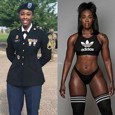 "She Can Do Both on Instagram: ""Featuring: @fancy85fit_"" Beautiful Dark Skinned Women, Beautiful Black Women, Amazing Women, Mädchen In Uniform, Vaquera Sexy, Dark Skin Girls, Military Girl, Military Women, Girls Uniforms"