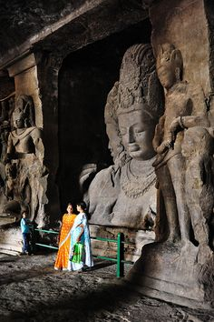 Elephanta cave  Island, near Mumbai. Description by Pinner Mahua Roy Chowdhury