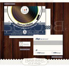 Wedding Invitation RSVP & Return Address Vinyl Record Vintage Record Unique Creative by BeeBeeArtandDesign, $35.00