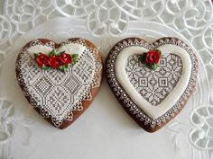 Lace Cookies, Ginger Cookies, Cookie Designs, Heart Art, Cookie Decorating, Gingerbread Cookies, Projects To Try, Fancy, Decorated Cookies