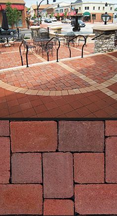 CityCobble pavers from Pine Hall brick:  include two sizes – a 5-1/3″ square and a 5-1/3″ x 8″ rectangle. Then laid in an 'I' pattern or modified herringbone pattern, it gives the random look of cobblestone. The Siesta color (pictured) contains 54% recycled content.