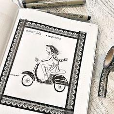 Day 11 #inktober2016 *transport* .  #transport #vespa #vespaillustration  #inking #drawing #drawingoftheday #drawingchallenge  #drawinginspiration #tinte #fineliner #micronpen #micronpens #washitape @inktober #sketchnotes #sketchnotesbydiana #germanbujojunkies