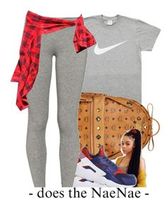 """Nike."" by beautifulme078 ❤ liked on Polyvore featuring MCM, NIKE and TNA"