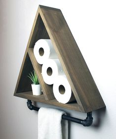 Triangle Bathroom Shelf with Industrial Farmhouse Towel Bar, Geometric Country Rustic Storage, Modern Farmhouse, Apartment Dorm Decor Ceiling Shelves, Bar Shelves, Industrial Farmhouse, Modern Farmhouse, Modern Rustic, Farmhouse Decor, Farmhouse Towel Bars, Triangle Shelf, Weathered Oak