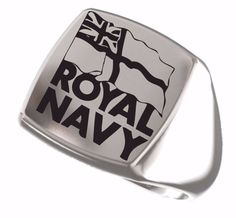 United Kingdom Britain Royal Navy Crest Engraved Square 925 Sterling Silver Ring