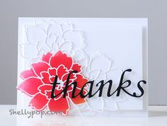 Memory Box dies- Script Thanks 98240, Lovely Peony Background 98483, Lovely Peony Outline 98482 from the Popsicle Toes blog