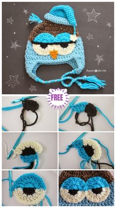 Here is a wonderful free Crochet Cute Drowsy Owl Hat pattern for you to consider to crochet a gift for your family or friend. This owl hat is very adorable. Crochet Owl Hat, Crochet Eyes, Crochet Kids Hats, Crochet Baby Clothes, Diy Crochet, Crochet Crafts, Crochet Stitches, Crochet Projects, Crochet Patterns