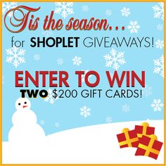 We are giving away TWO $200 gift cards to Shoplet.com for our Holiday #GIVEAWAY! Here's how to #win: Follow Shoplet on Pinterest, repin this post, go to the Shoplet Blog each day November 18th-December 15th & tell us which item on Shoplet.com you want for the holiday season most! Good luck, everyone :)