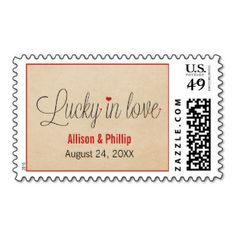 Lucky in Love Save the Date Postage, Red