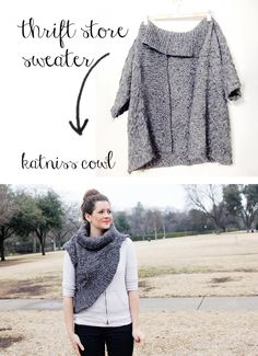 Katniss cowl pattern ~ turn an op-shop jumper into this Hunger Games inspired style