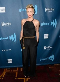 Charlize Theron didn't rock her usual Dior garb (she and Lawrence are both faces of the brand), but instead opted for a sleek and sexy Jason Wu jumpsuit.