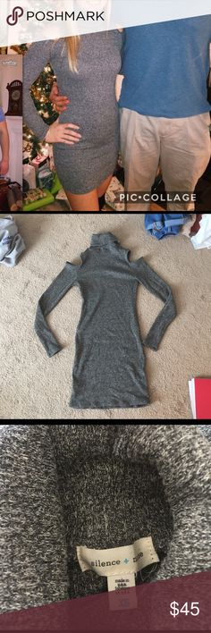 Urban Outfitters Sweater Dress Silence and Noise brand from Urban Outfitters sweater dress. Open shoulders and turtle neck. Very comfortable, stretchy. Size xsmall but will fit small because of stretch. WORN ONCE in picture . New condition. Thinner sweater material, not thick so it doesn't make you hot Urban Outfitters Dresses