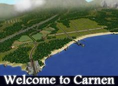 Mod The Sims - City of Carnen, decorated neighborhood using Criquettes road pieces.