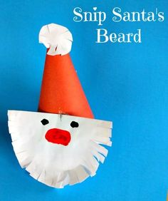Snip Santa's beard! What a cute paper plate craft for preschoolers this Christmas! Great for practicing scissor and fine motor skills