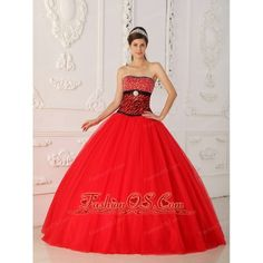 Sexy Red Quinceanera Dress Strapless Tulle and Zebra Beading A-line /... ($190) via Polyvore