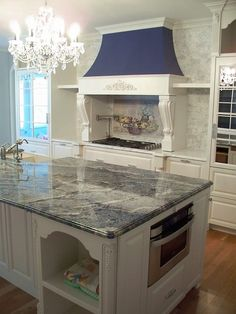 blue bahia granite, kitchen island, blue kitchen, blue and… | Flickr