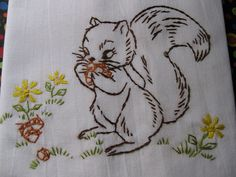 Tea Towel Hand Embroidered with a Cute Chipmunk by CraftieLadie, $6.95