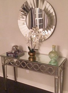Innovative Design Console Table and Mirror console table and mirror console table mirrored xkiacwp - Furnish Ideas Hallway Decorating, Entryway Decor, Living Room Inspiration, Home Decor Inspiration, Decor Ideas, Living Room Grey, Living Room Decor, Mirrored Furniture, Metallic Furniture