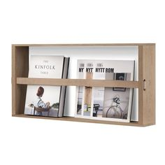 A simple and minimalist design, Norr Magazine Holder combines functionality and aesthetics. Easily store and display magazines, small items and books on the wall. Made of oak, and featuring a leather ribbon that ensures the items stay in place. Magazine Holders, Magazine Rack, Magazine Display, Shelf Furniture, Nordic Home, Rack Design, Wall Racks, Danish Design, Wood