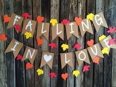Falling in Love Banner- Baby Shower, Wedding, Fall Baby Shower, Bridal Shower, Photo Prop, Fall Party by BlueOakCreations on Etsy https://www.etsy.com/listing/239682075/falling-in-love-banner-baby-shower