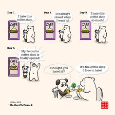 Hard To Please 3 – Panda and Polar Bear Polar Bear Illustration, Cute Illustration, Cute Panda Cartoon, Baby Panda Bears, Chibi Cat, Panda Love, We Bare Bears, Best Quotes, Fun Quotes