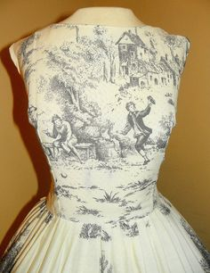 1950's Victorian Scene NOVELTY PRINT Toile Party Dress Vintage 50's Romantic Dancing Couple French Cottage Scenic Cocktail Cotton Dress