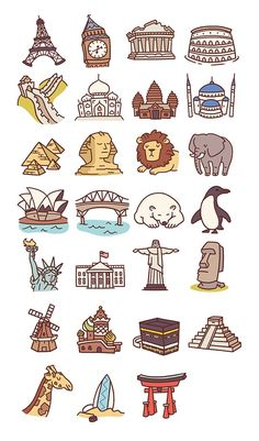 Ideas For Travel Drawing Doodles Printable Stickers, Cute Stickers, Planner Stickers, Sketch Note, Buch Design, Travel Icon, Work Travel, Travel Goals, Fun Travel