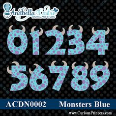 INSTANT download Monsters inspired numbers por ACDigitalArtStudio
