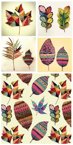 Gabee Meyer from Sao Paulo, Brazil. The talented illustrator and pattern designer picks out random leaves and paints contemporary folk designs on them.Gabee Meyer- painted leaves- Go outside and pick dried, dead leaves and paint them in fun and inven Autumn Crafts, Autumn Art, Nature Crafts, Autumn Leaves, Fall Trees, Club D'art, Art Club, Art Et Nature, Painted Leaves