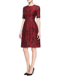 B2KQD Lela Rose Brocade Lace Elbow-Sleeve Dress