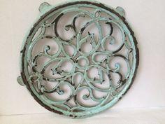 Vintage French Cast Iron Trivet Turquois  Enamelled Round