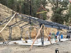 If you are looking for a pre-fabricated steel or metal building, Miracle Truss Buildings has the solution with our do-it-yourself steel buildings kits. Garage Design, Roof Design, Steel Garage Kits, Big Modern Houses, Pole Barn Designs, Building A Pole Barn, Barn Kits, Workshop Layout, Steel Trusses