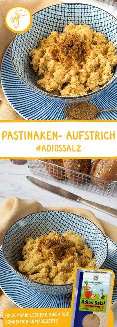 """PASTINAKEN AUFSTRICH mit  """"Adios Salz"""" Würzmischung: Habt ihr schon einmal versucht, zu würzen anstatt zu salzen? Wenn nicht, solltet ihr diesen herrlichen Aufstrich unbedingt ausprobieren. Du wirst überrascht sein! #pastinakenaufstrich #aufstrich #pastinake #dip #vegandip #veganeraufstrich #brotaufstrich #gemüseaufstrich Muffin, Veggies, Drinks, Cooking, Breakfast, Recipes, Food, Vegan Dishes, Complete Nutrition"""
