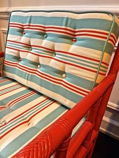 Love the alternating stripe direction  DEDAR Holiday linen stripe on chair