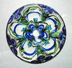 Kim Miles Lampwork Beads Photo Gallery: Clear Bead with Florals and Kaleidoscope Motifs