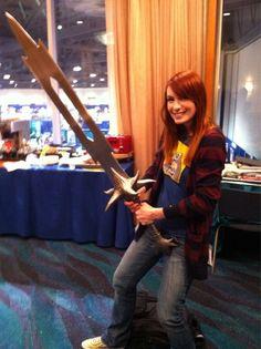 Felicia Day holding a Dragon Age Sword