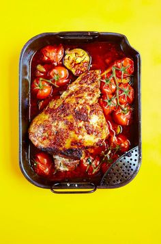Slow-cooked Leg of Lamb with Harissa, Roasted Aubergines & Tomatoes - The Happy Foodie