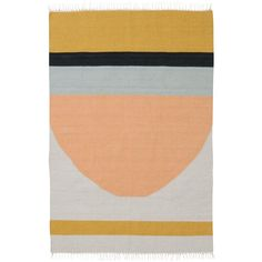 Ferm Living Home Kelim Semicircle Wool & Cotton Rug (€225) ❤ liked on Polyvore featuring home, rugs, multicolor, wool rugs, multicolor rug, multi-colored rug, colorful rugs and multi coloured rug