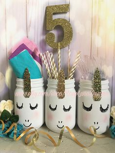 Bashful unicorn mason jar set unicorn birthday party unicorn