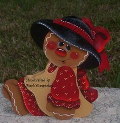 Hand Painted Gingerbread Girl Shelf Sitter by stephskeepsakes, $14.95