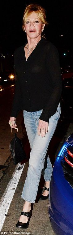 Relaxed fit: For her night out, Melanie threw on a pair of loose fit cropped jeans - often...