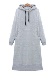 Loose Casual Women Long Sleeve Hooded Sweatshirt Dress With Pocket
